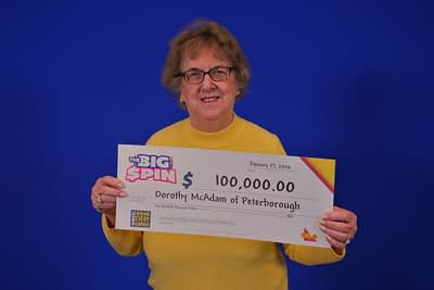 Peterborough Retiree celebrates $100,000 WIN with the Big Spin Instance Game