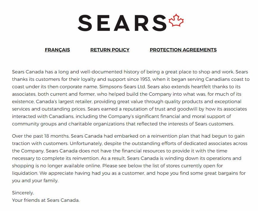 Sears Canada Online Store CLOSED