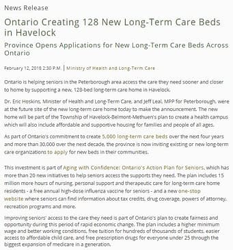 News Release - 128 Beds
